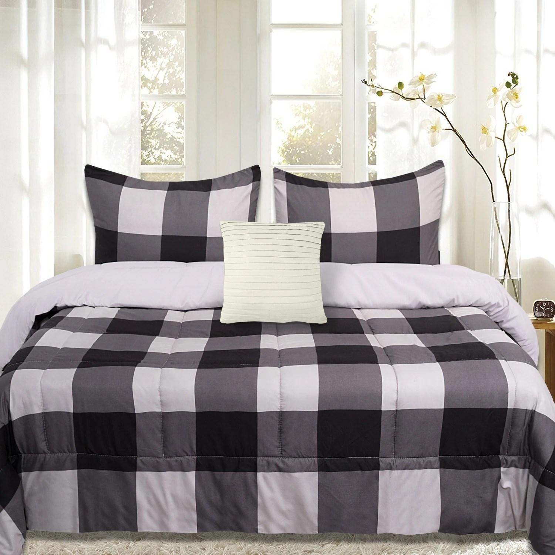 sweet home collection 4 piece buffalo check comforter set black and grey