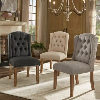 nola tufted wingback dining chair with nailhead trim set of 2 by inspire q