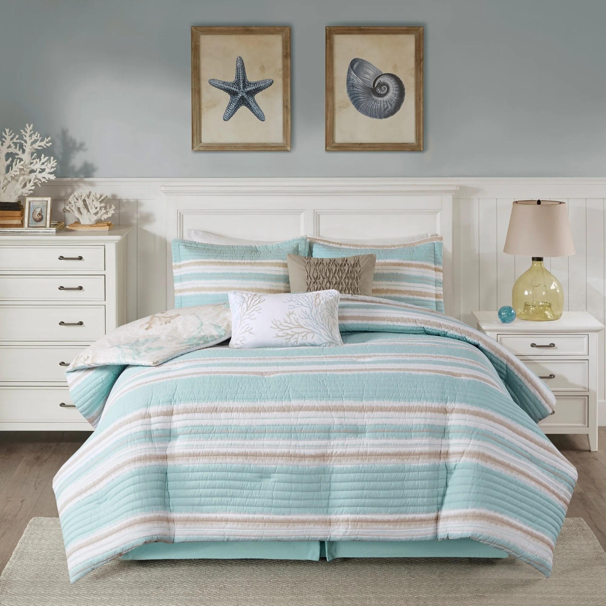 harbor house ocean reef seafoam green 6 piece quilted reversible comforter set