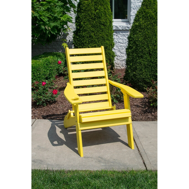 Folding Adirondack Chair Plantation Ladderback Style W Cup Holder