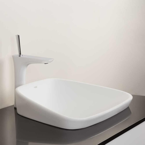 19 trapezoid ceramic drop in vessel sink without overflow in white 19 21 x 14 76