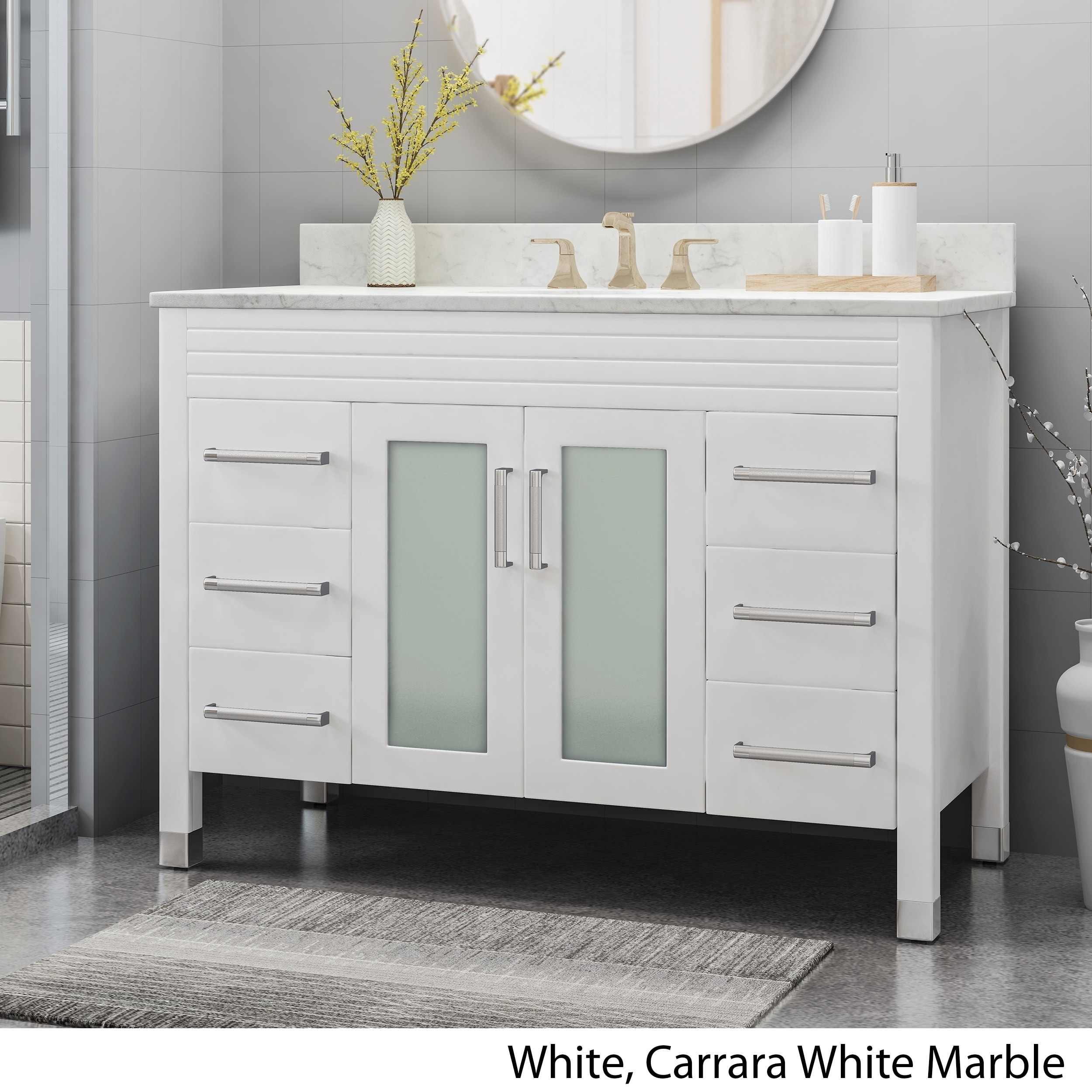 holdame contemporary 48 wood single sink bathroom vanity with carrera marble top by christopher knight home