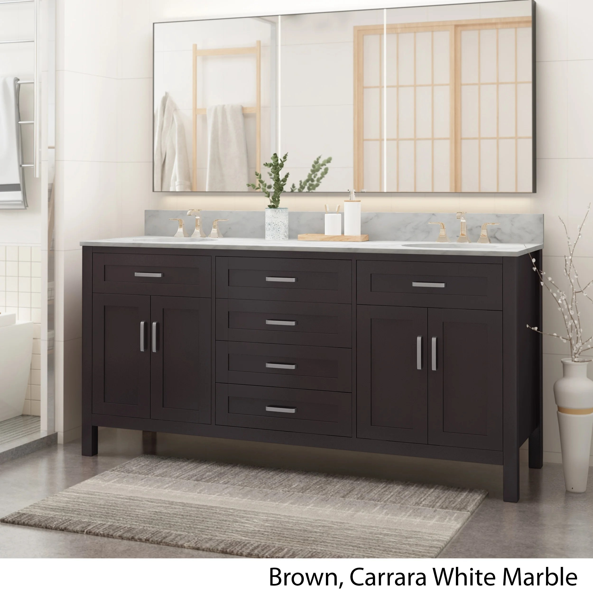 greeley contemporary 72 wood double sink bathroom vanity with carrera marble top by christopher knight home