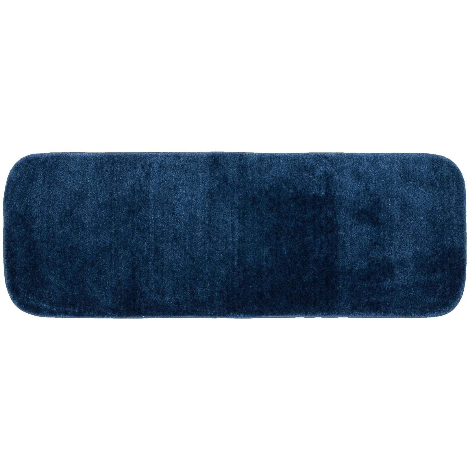 Traditional Plush Basin Blue Washable Nylon Bathroom Rug Runner Non Slip Appliques Mats Home Garden