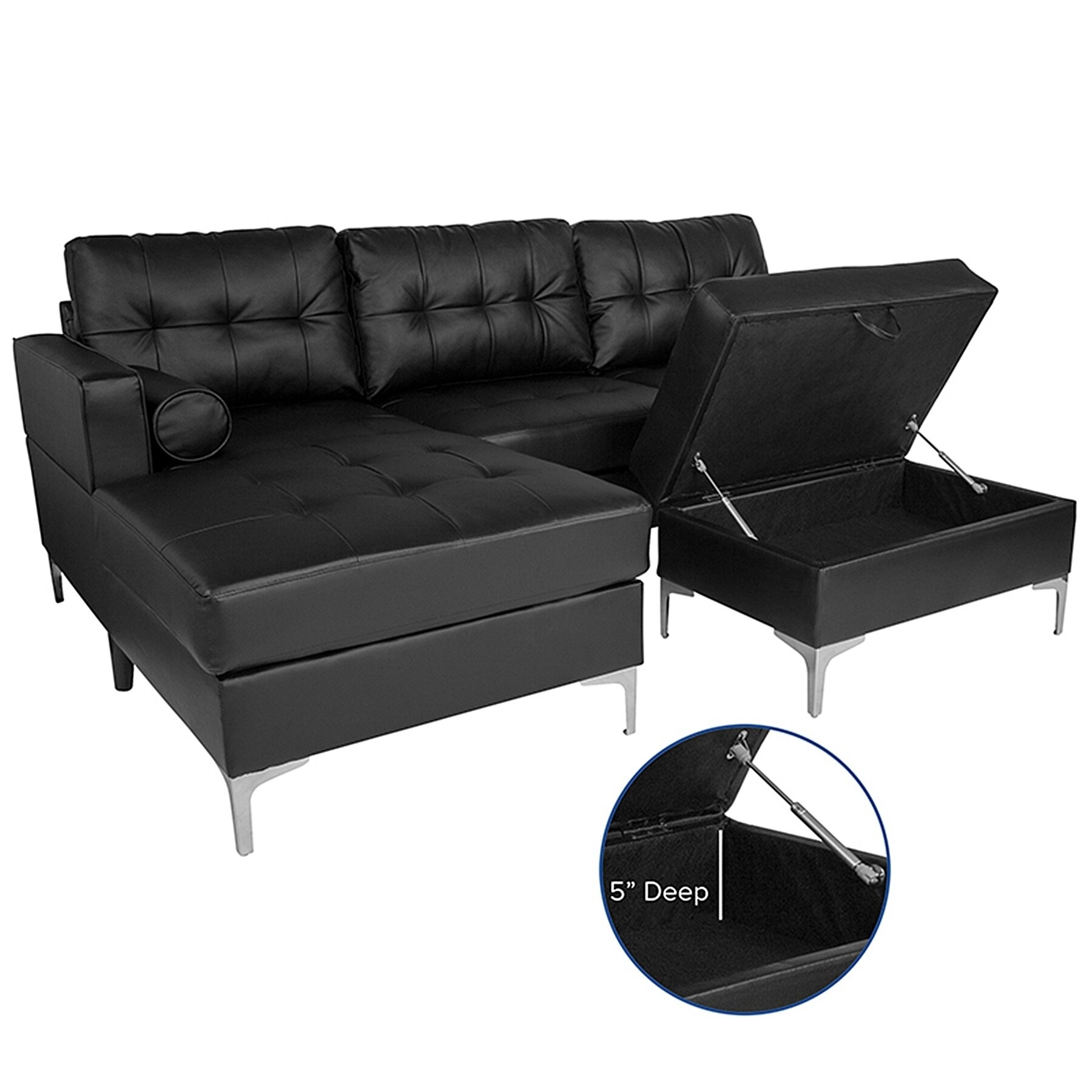 Bellmore 3 Piece Black Leather Sectional Sofa With Left Facing Chaise And Storage Ottoman
