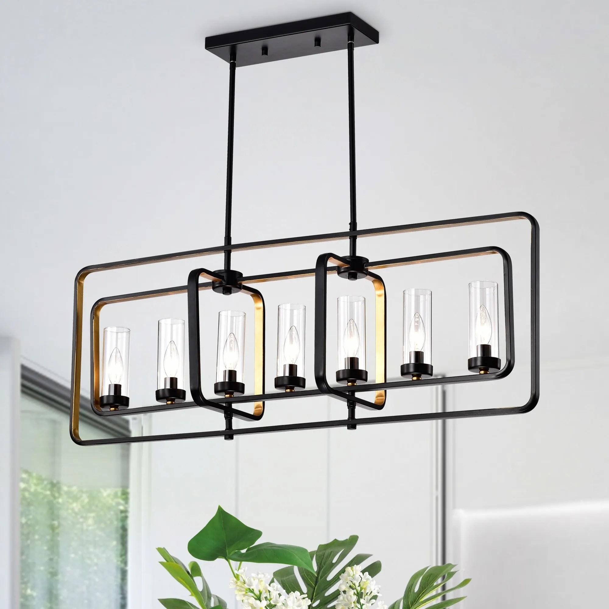 belline matte black gold 7 light chandelier with glass pillar shades