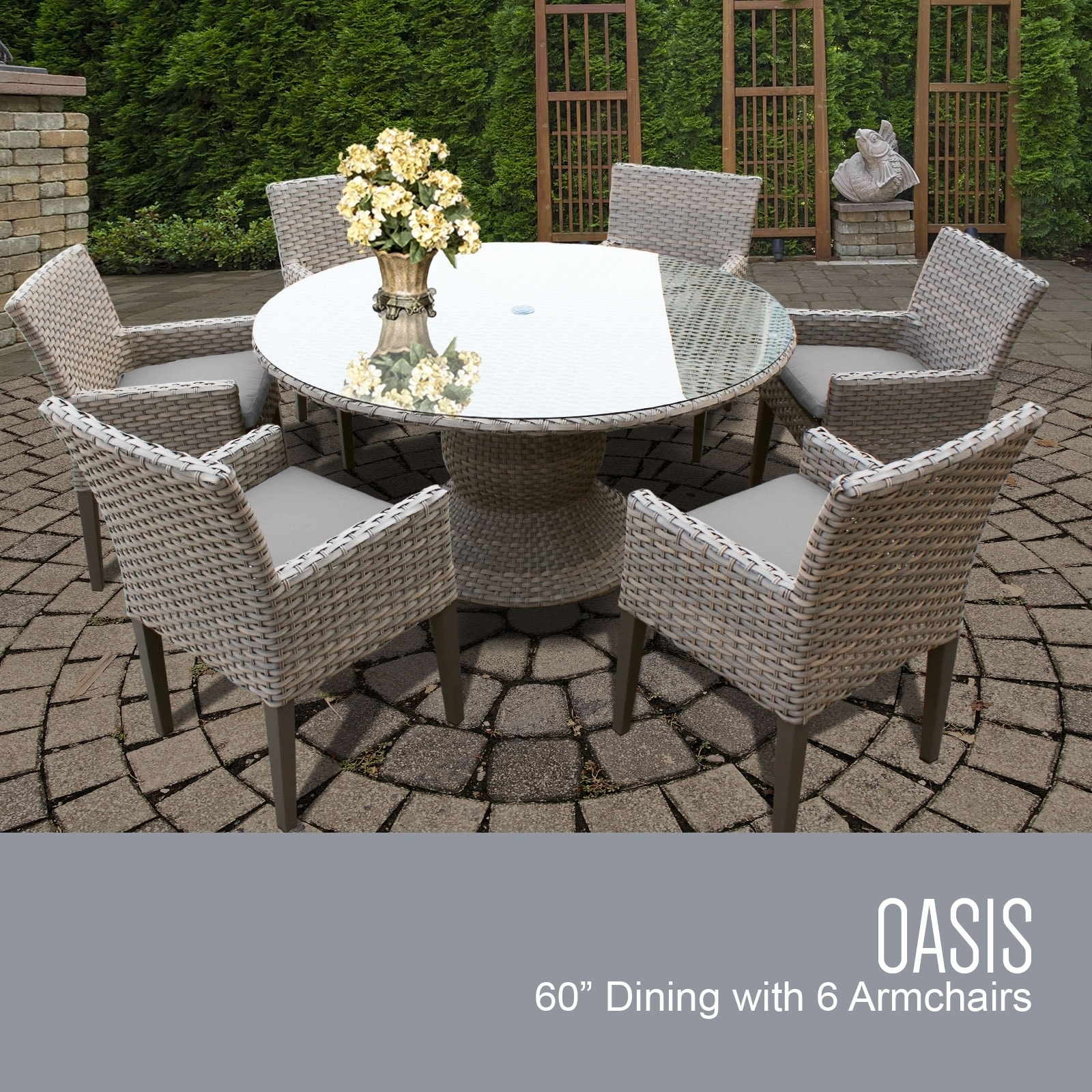 Oasis 60 Inch Outdoor Patio Dining Table With 6 Chairs W Arms Overstock 26423915 Standard