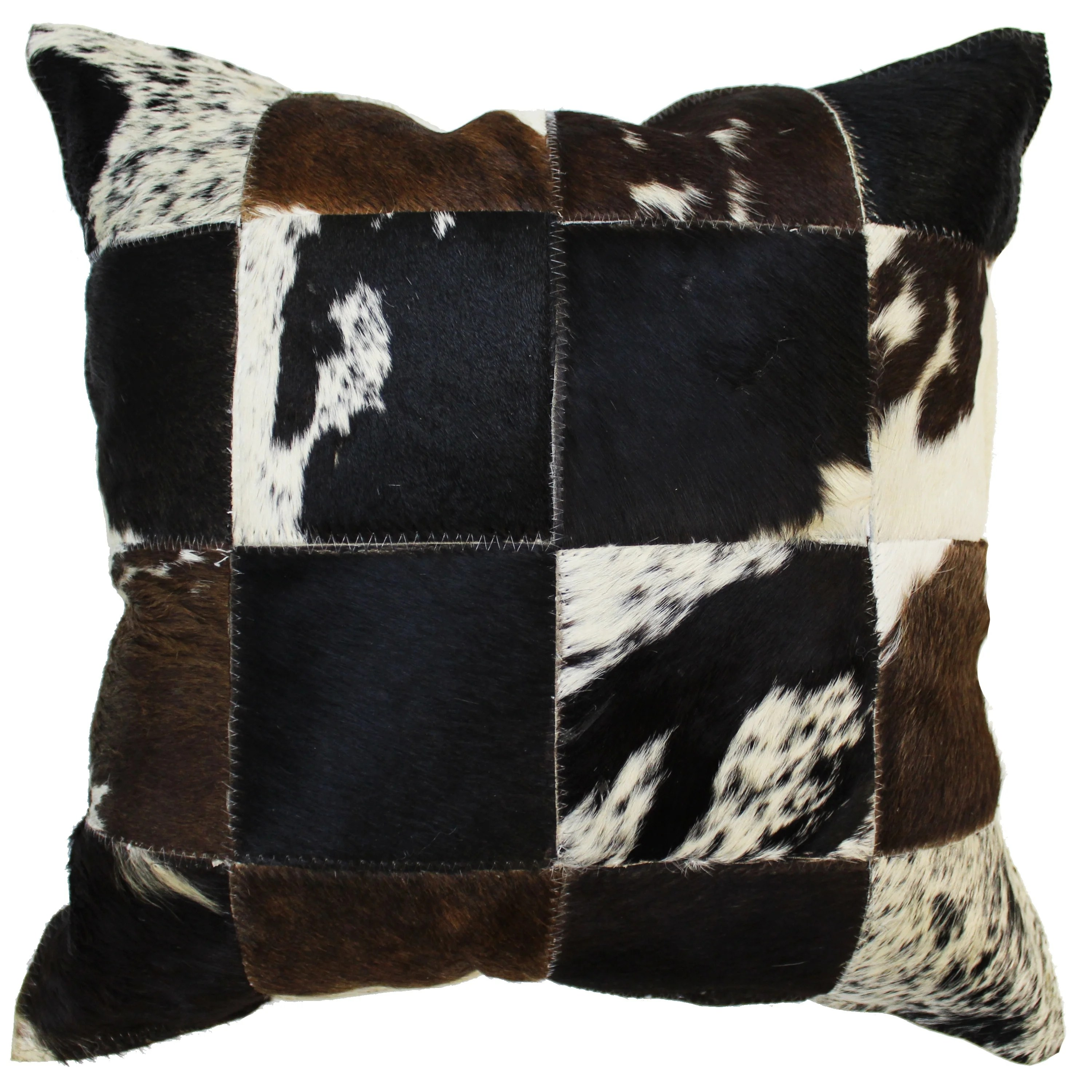 natural geo herd cowhide brown black square decorative throw pillow