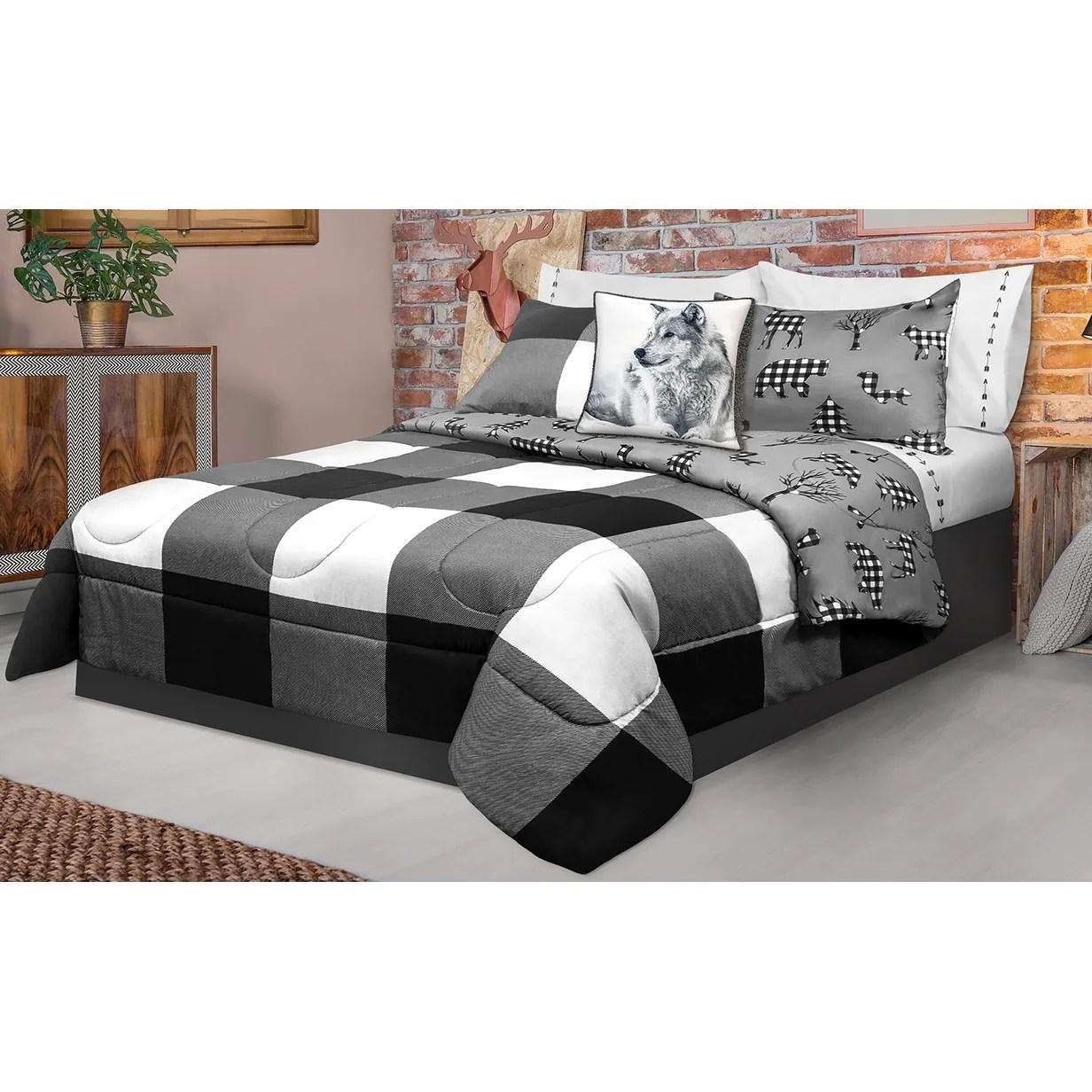 comforter 2 piece set twin printed buffalo plaid white black