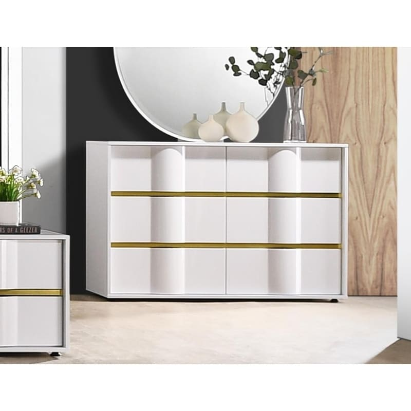 best master furniture white with gold trimming dresser