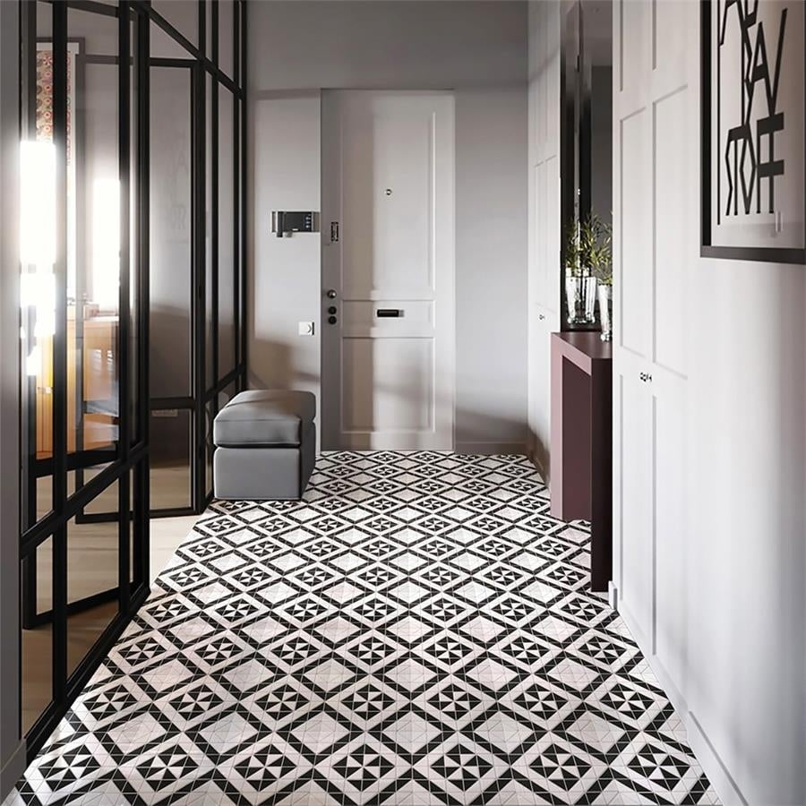 somertile 10 75x10 75 inch tri quadro windmill black with white porcelain mosaic floor and wall tile