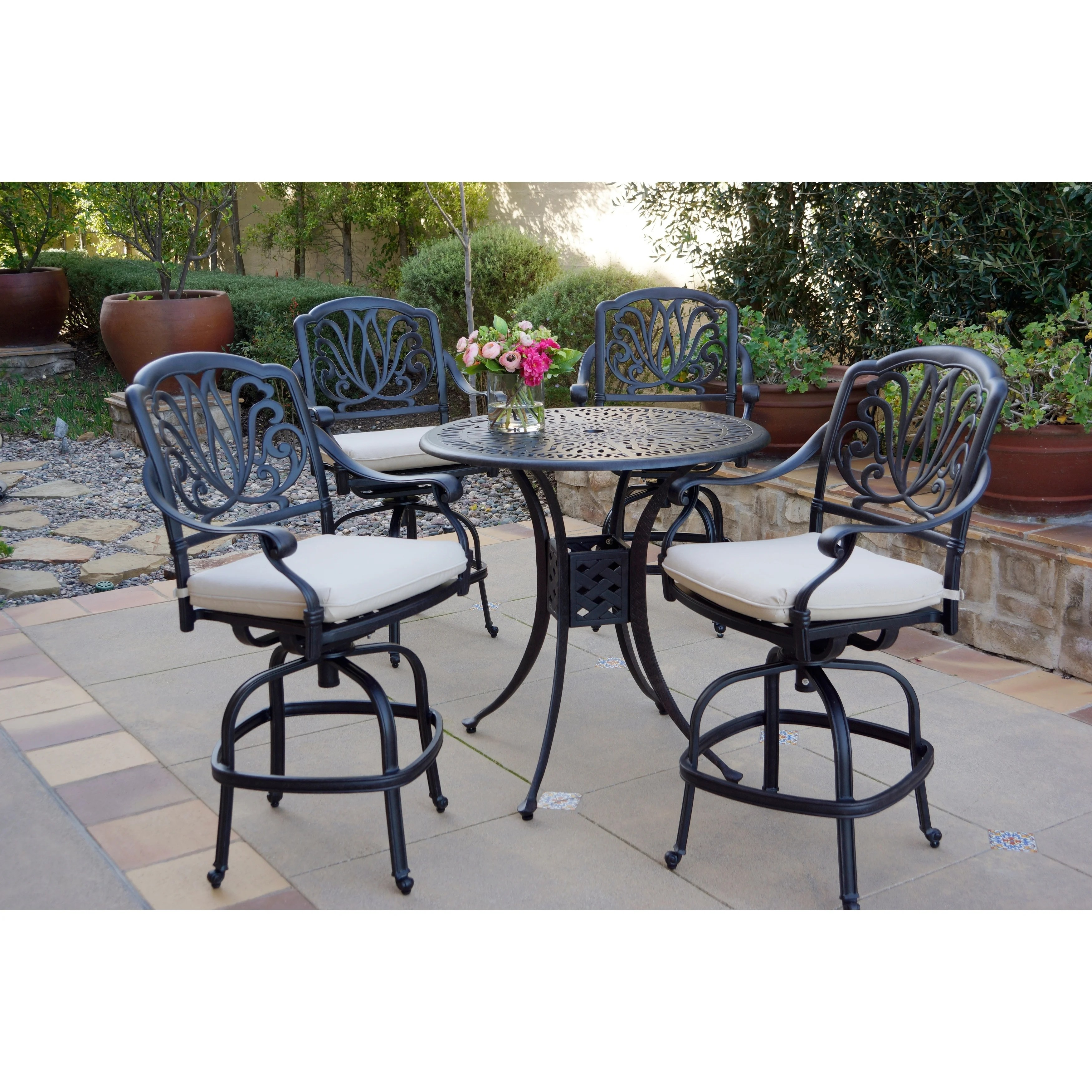5 Piece Patio Bar Set 36 Inch Round Counter Height Bar Table Overstock 27326480