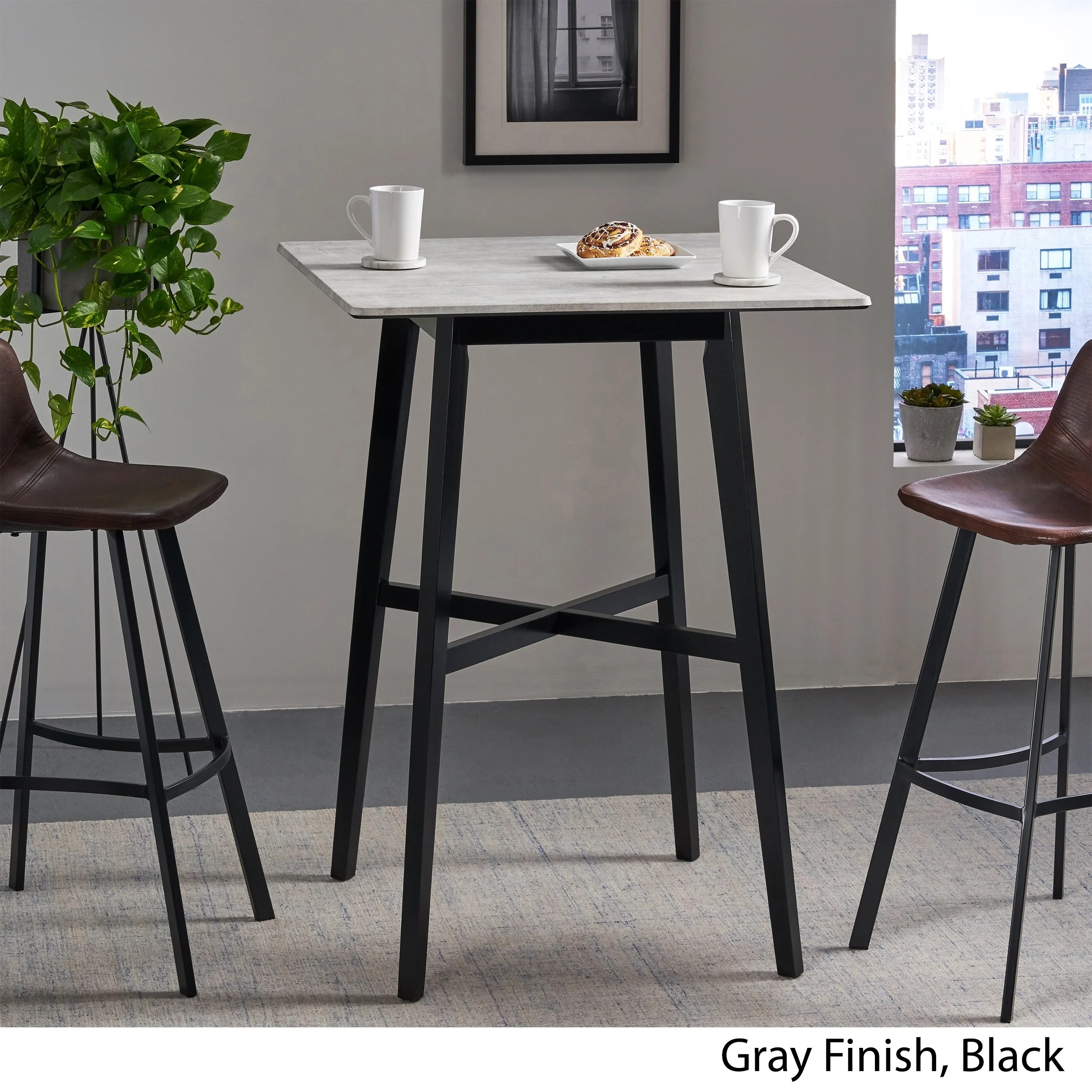 Kenilworth Modern Resin Square Bar Table By Christopher Knight Home Overstock 27414672
