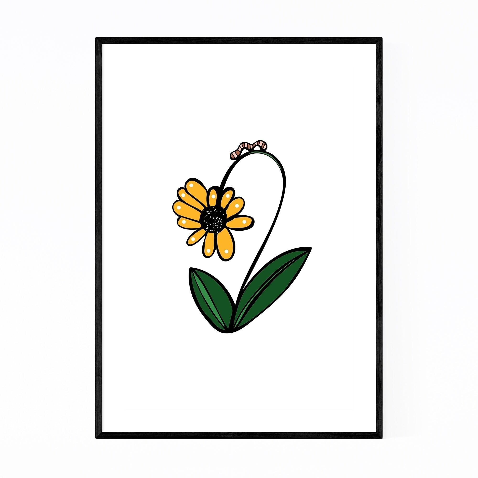 Noir Gallery Floral Daisy Illustration Framed Art Print