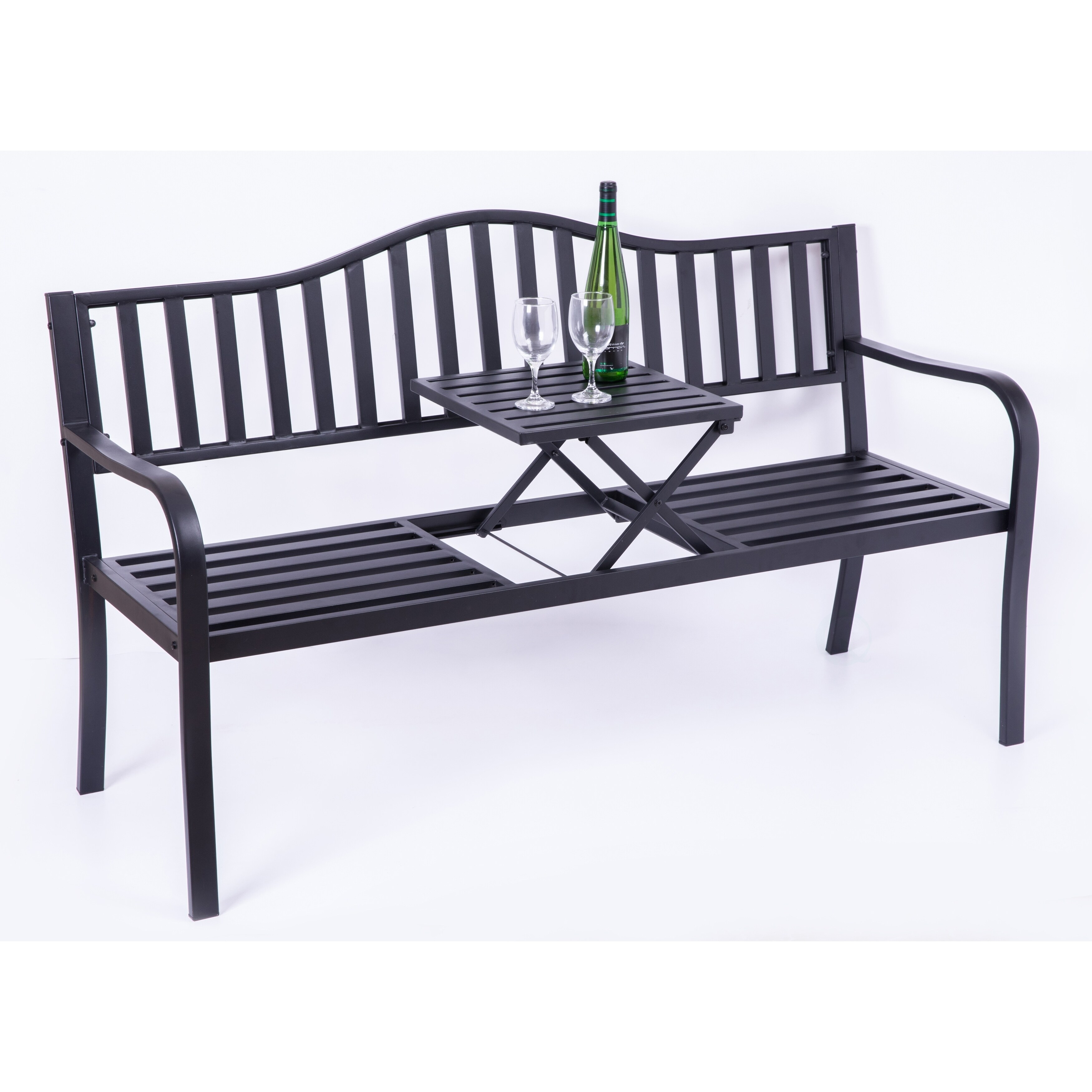 Shop Black Friday Deals On Powder Coated Black Steel Patio Garden Park Bench With Middle Table Overstock 27479552