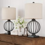 Shop Black Friday Deals On Table Lamps Set Of 2 Wrought Iron Open Cage Orb Lights Bulbs And Linen Shades Included Modern Rustic By Lavish Home 13x13x26 Overstock 27537705