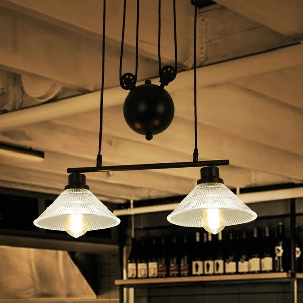 Shop Laxmi Black Industrial Style 2 Light Chandelier With Ridged Glass Shades Includes Bulbs On Sale Overstock 27539832