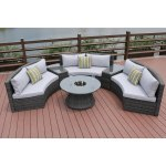 New Half Moon 6 Piece Outdoor Curved Sectional Sofa With Side Table Set By Direct Wicker Overstock 27590074