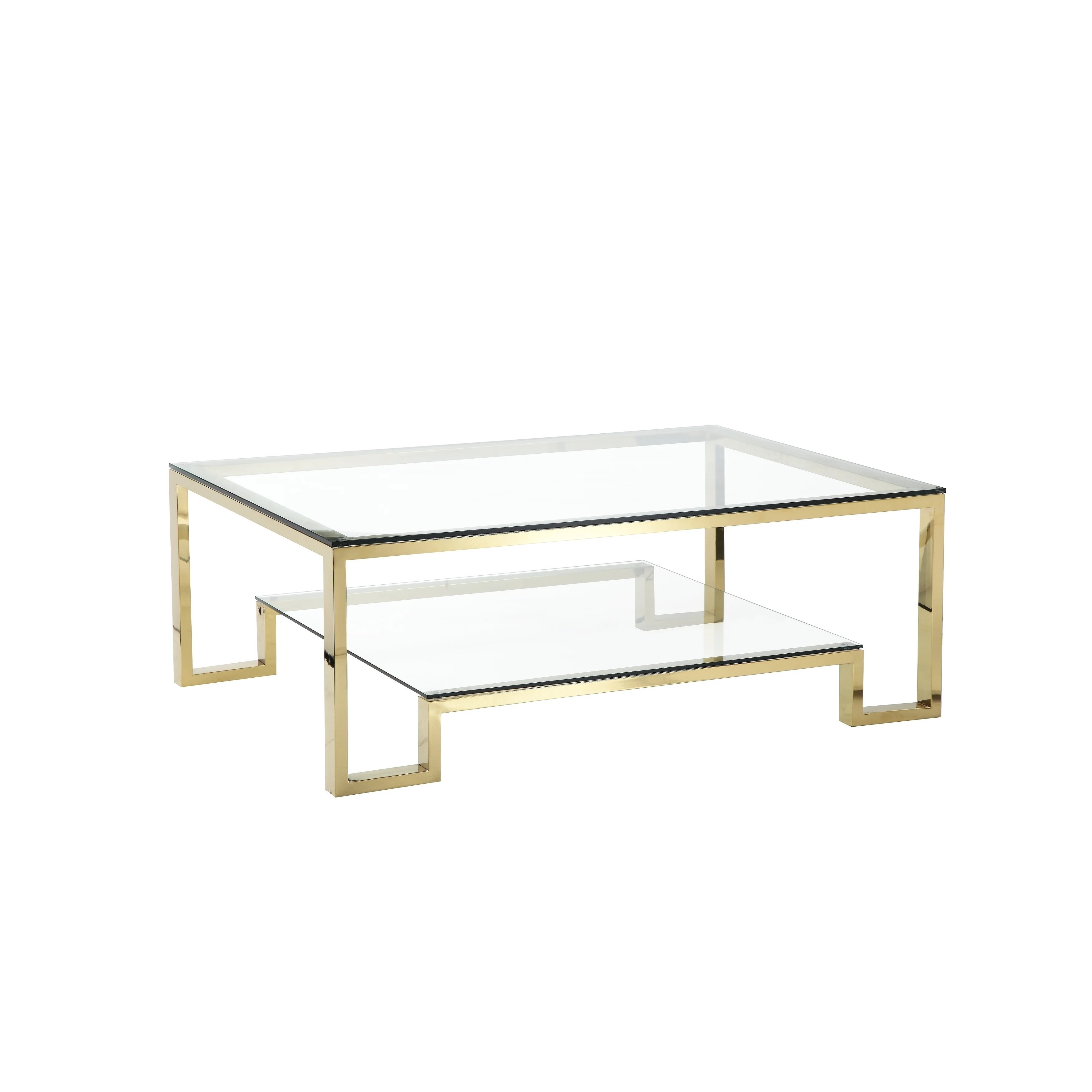 geometric metal framework coffee table with glass top and open shelf gold and clear