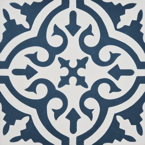 navy blue and white cement tile pack