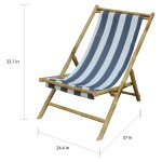 Havenside Home Sakami Blue Stripe Canvas Folding Bamboo Relax Sling Chair