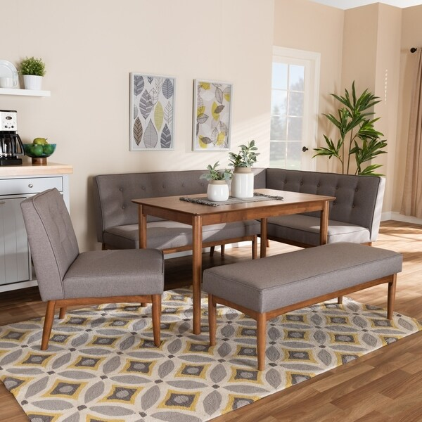 Shop Mid Century Gray Fabric 5 Piece Dining Nook Set On Sale Free Shipping Today Overstock