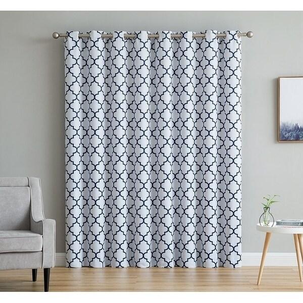 lattice print thermal grommet room darkening blackout patio door curtain sliding door 100 w x 84 l single panel