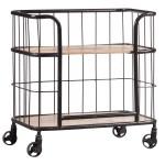 Industrial Wood Metal Trolley Bar Cart Overstock 27871165