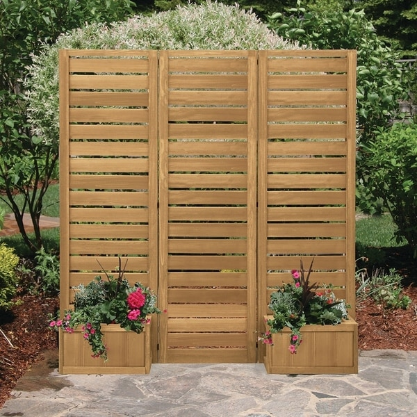 Shop 5 X 5 Outdoor Privacy Screen With Planters On Sale Overstock 27889877