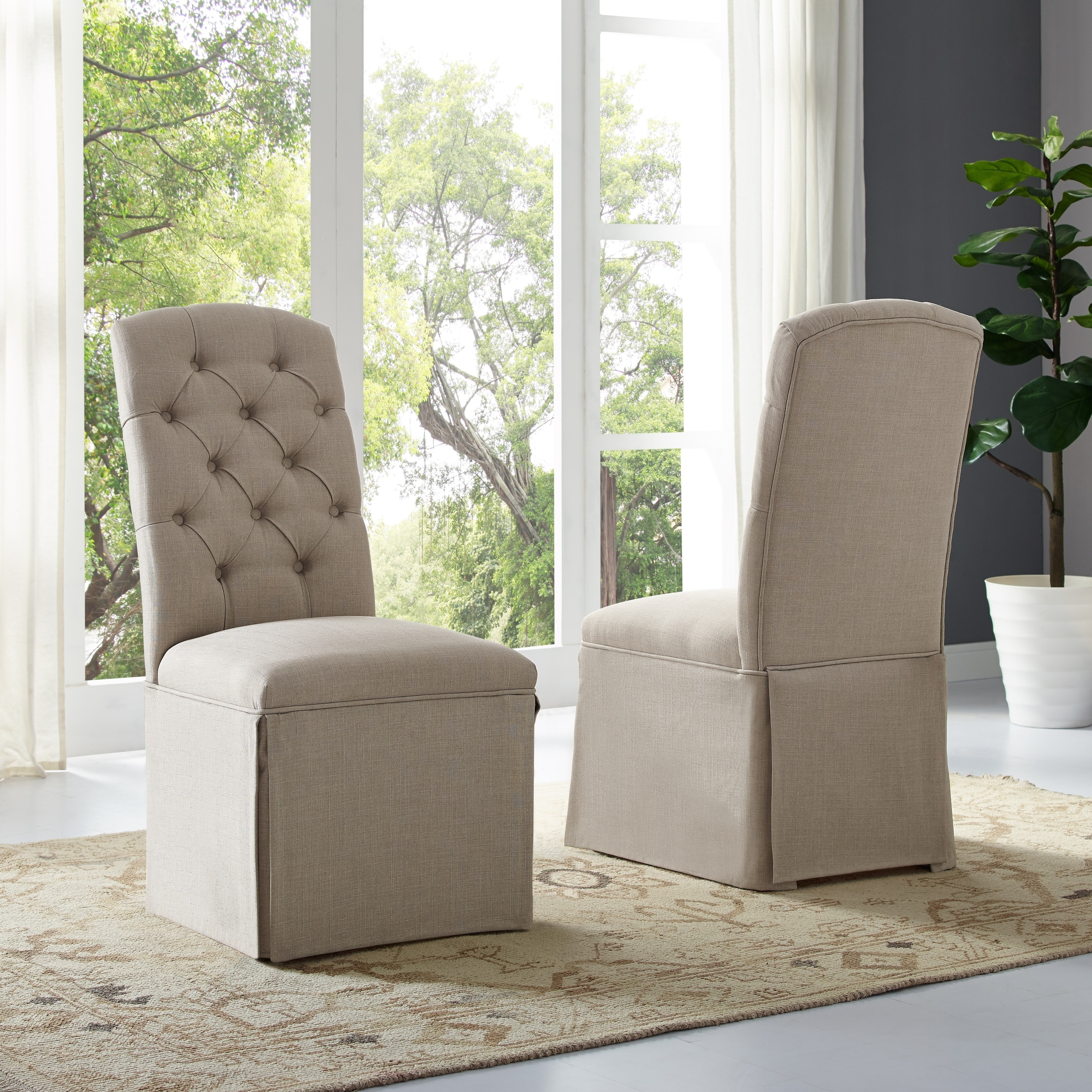 Sienna Tufted Dining Chair Set Of 2 Beige