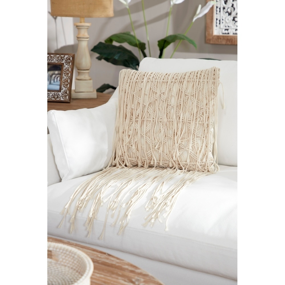 embroidered decorative throw pillow w extra long fringe trim