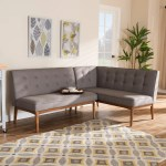 Shop Black Friday Deals On Mid Century Gray Fabric 2 Pc Dining Nook Banquette Set Overstock 27988992