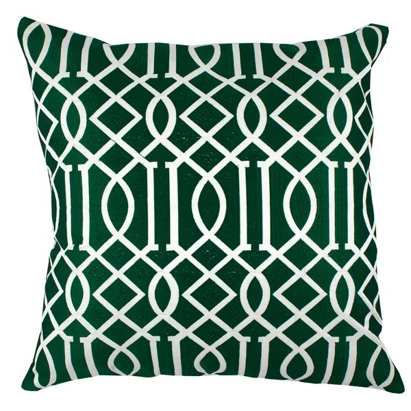divine home emerald green embroidered vail trellis throw pillow
