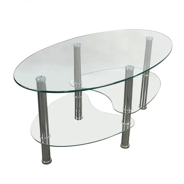 3 tier tempered glass shelf oval side
