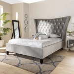 Glam Velvet Fabric Platform Bed With Tall Wingback Headboard Overstock 28031994