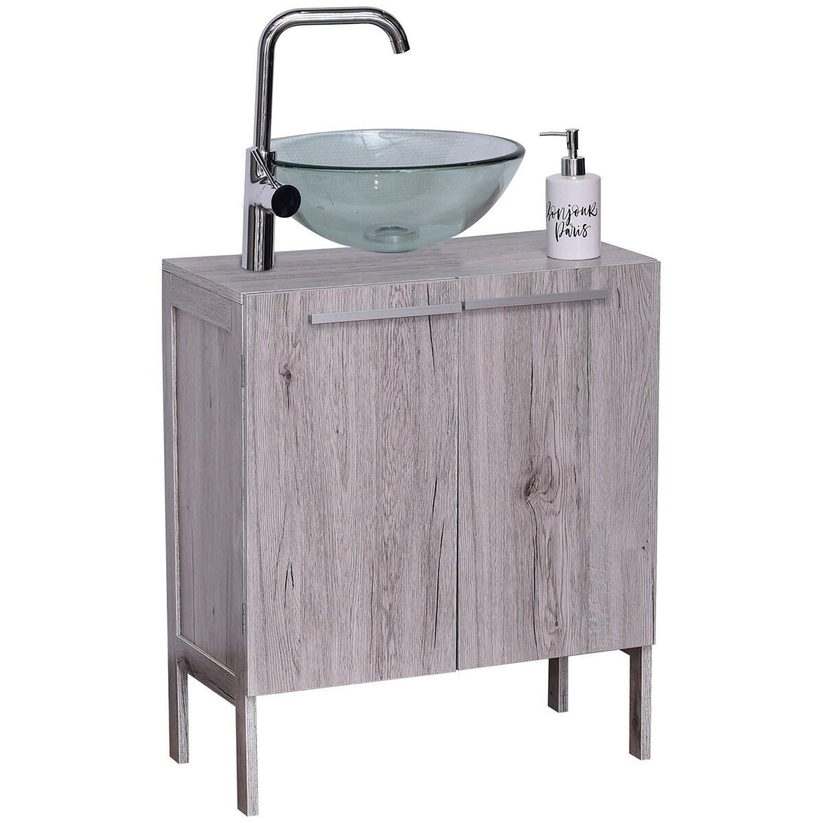 non pedestal under sink storage vanity cabinet oslo gray oak