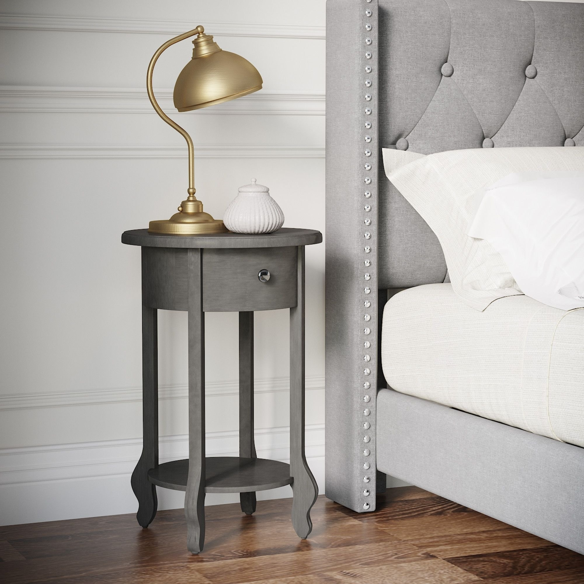 Finch James Round Side Table Dark Gray Overstock 28259168