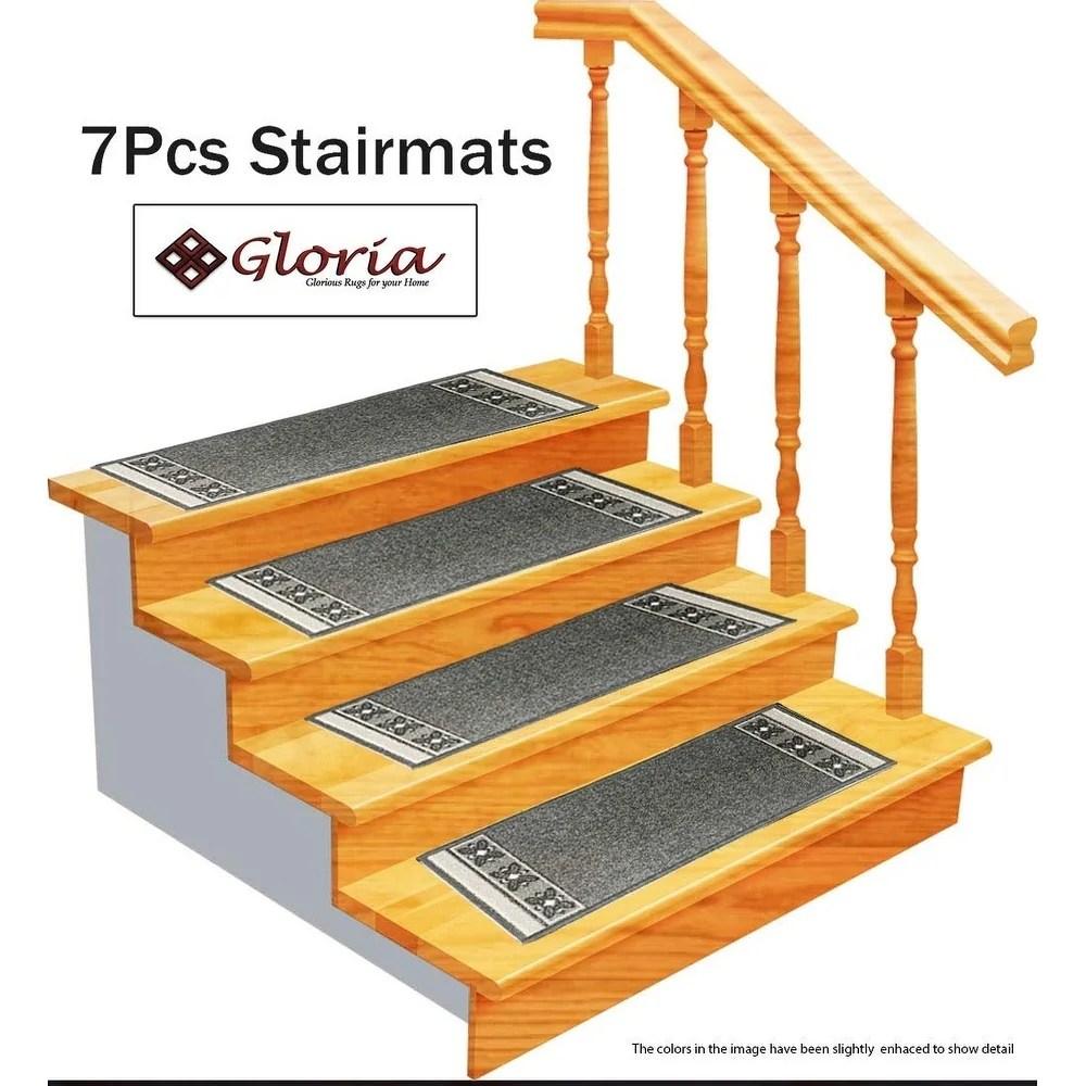 Shop Gloria Rug Stair Treads Non Slip 8 5X26 Gloriastairtread   Thick Carpet Stair Treads   Stair Runner   Montauk Linen   Flooring   Skid Resistant   Grey