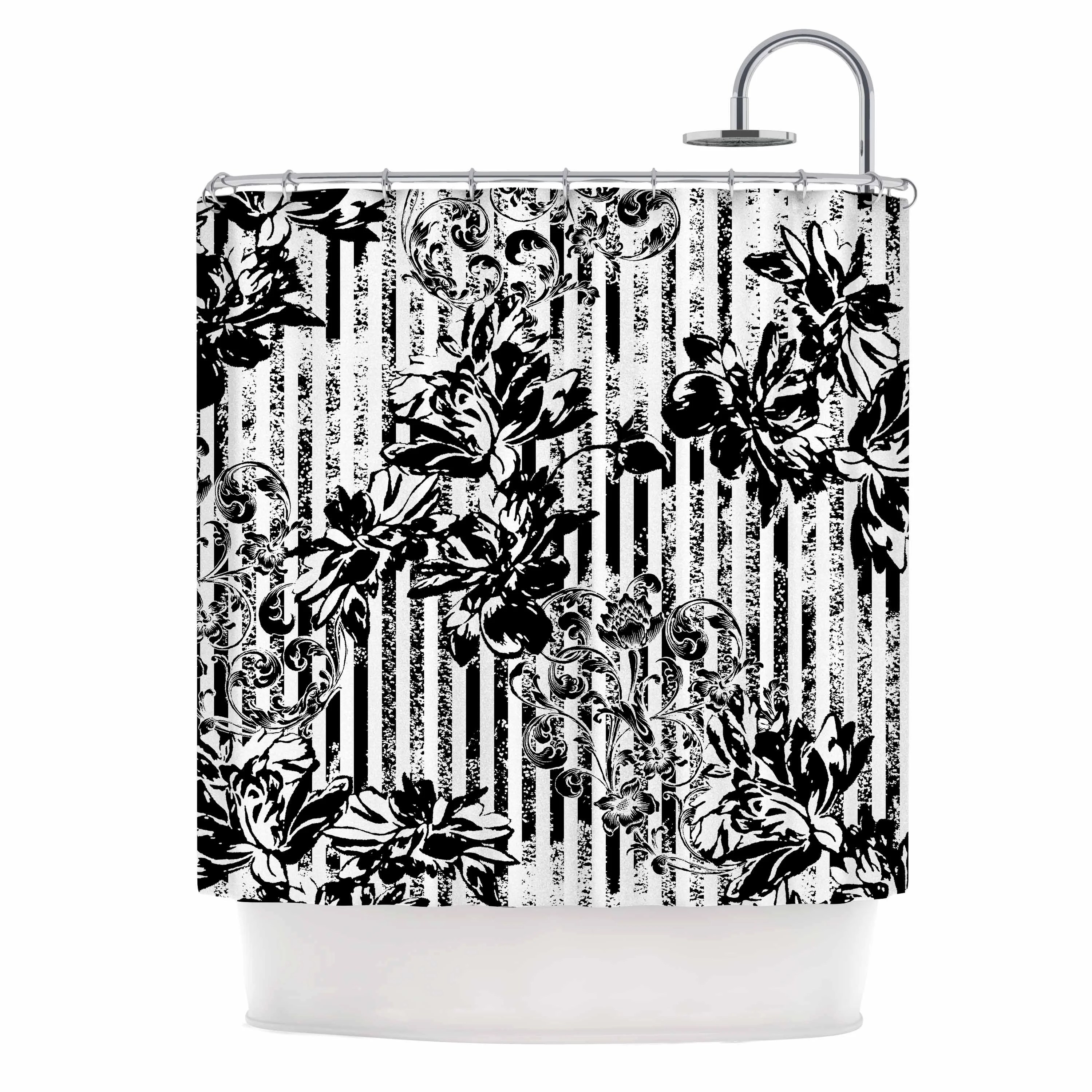 Victoria Krupp Stripes And Flowers Black White Digital Shower Curtain