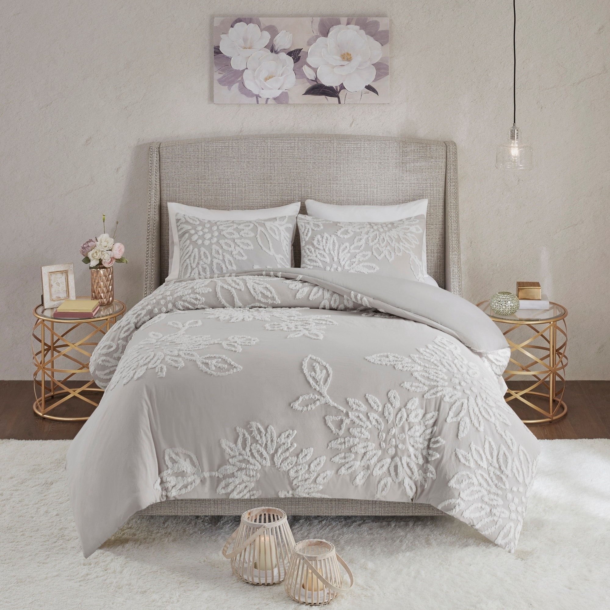 madison park pansy grey white tufted cotton chenille floral comforter set