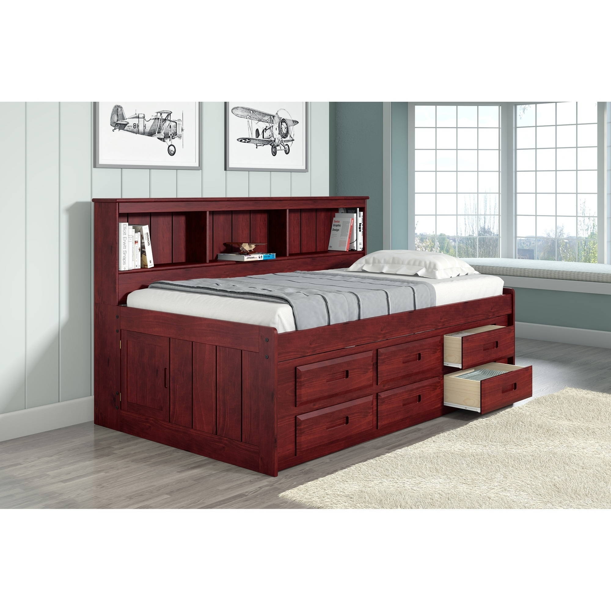 Twin Bookcase Captains Daybed With Six Storage Drawers In Merlot