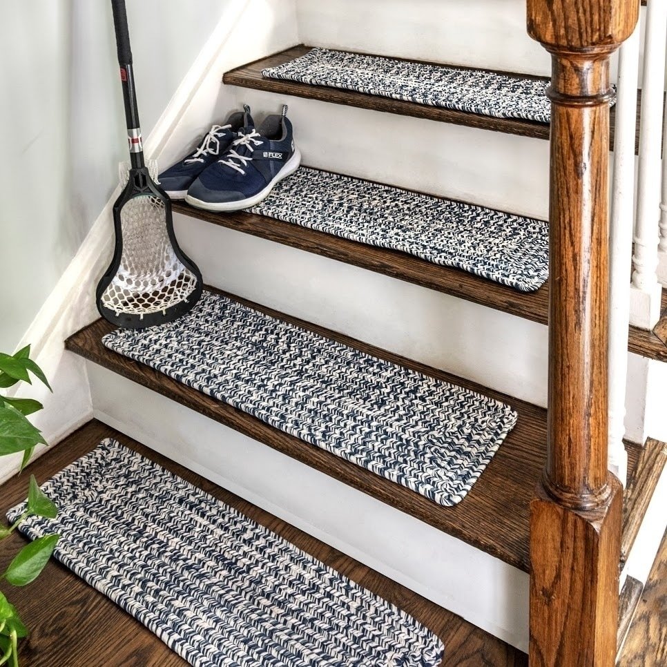 Shop Nuloom Solid Indoor Outdoor Braided Stair Treads Set Of 13 | Rug Treads For Steps | Turquoise | Stair Runner Matching Landing | Covering | Outdoor Carpet | Wood