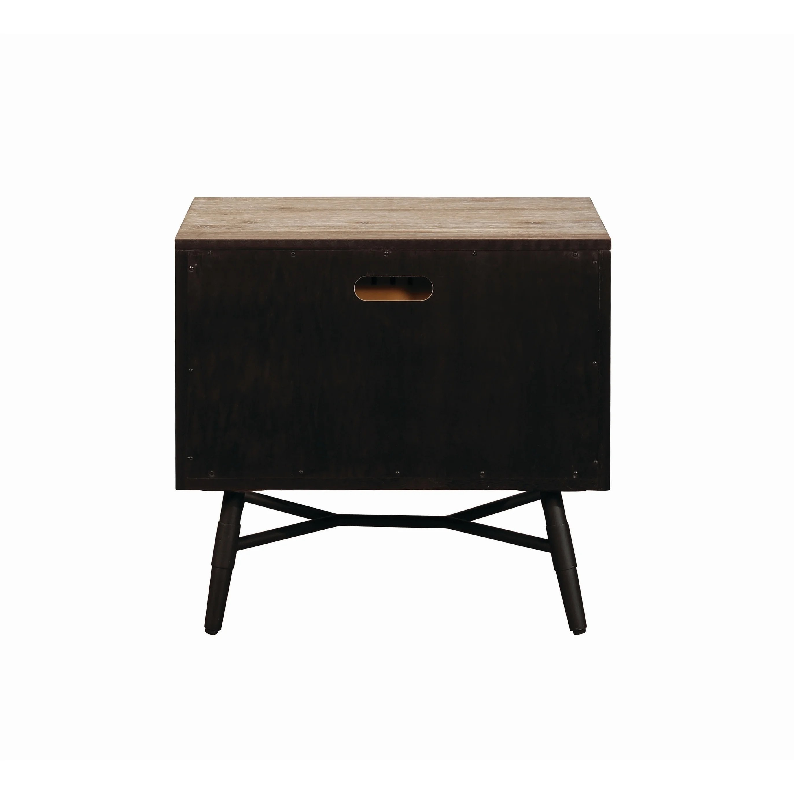 Wooden Nightstand With Two Drawers And Metal Angled Legs Brown