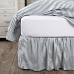 Farmhouse Bedding Miller Farm Ticking Stripe Bed Skirt Cotton Striped Gathered Queen Size In Dark Creme Coal Black As Is Item Overstock 28565524