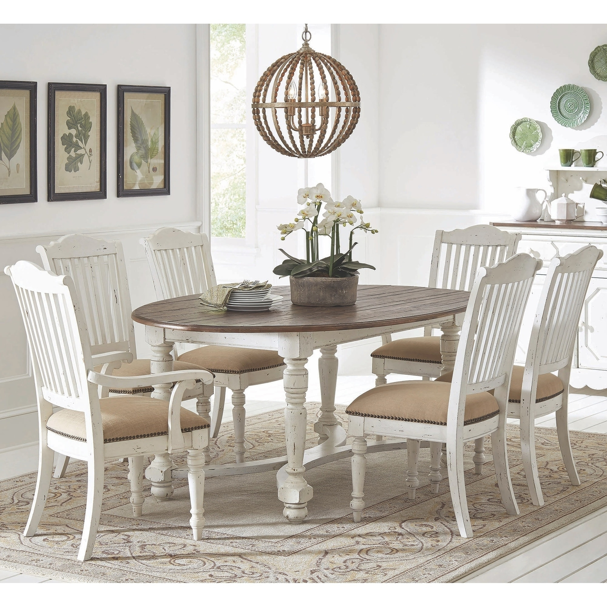 Rustic Farmhouse Design Weathered Two Tone Oval Dining Set On Sale Overstock 28699767
