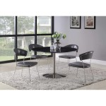 Shop Naomi Contemporary Black Marble And Brushed Nickel Round Dining Table Overstock 28729411