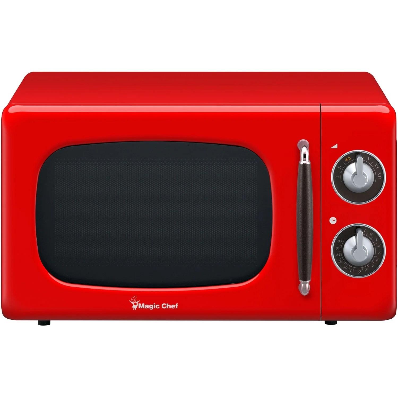 magic chef 0 7 cu ft 700w retro countertop microwave oven in red