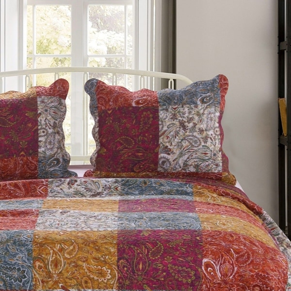 porch den merritt spice color paisley quilted pillow sham set of 2