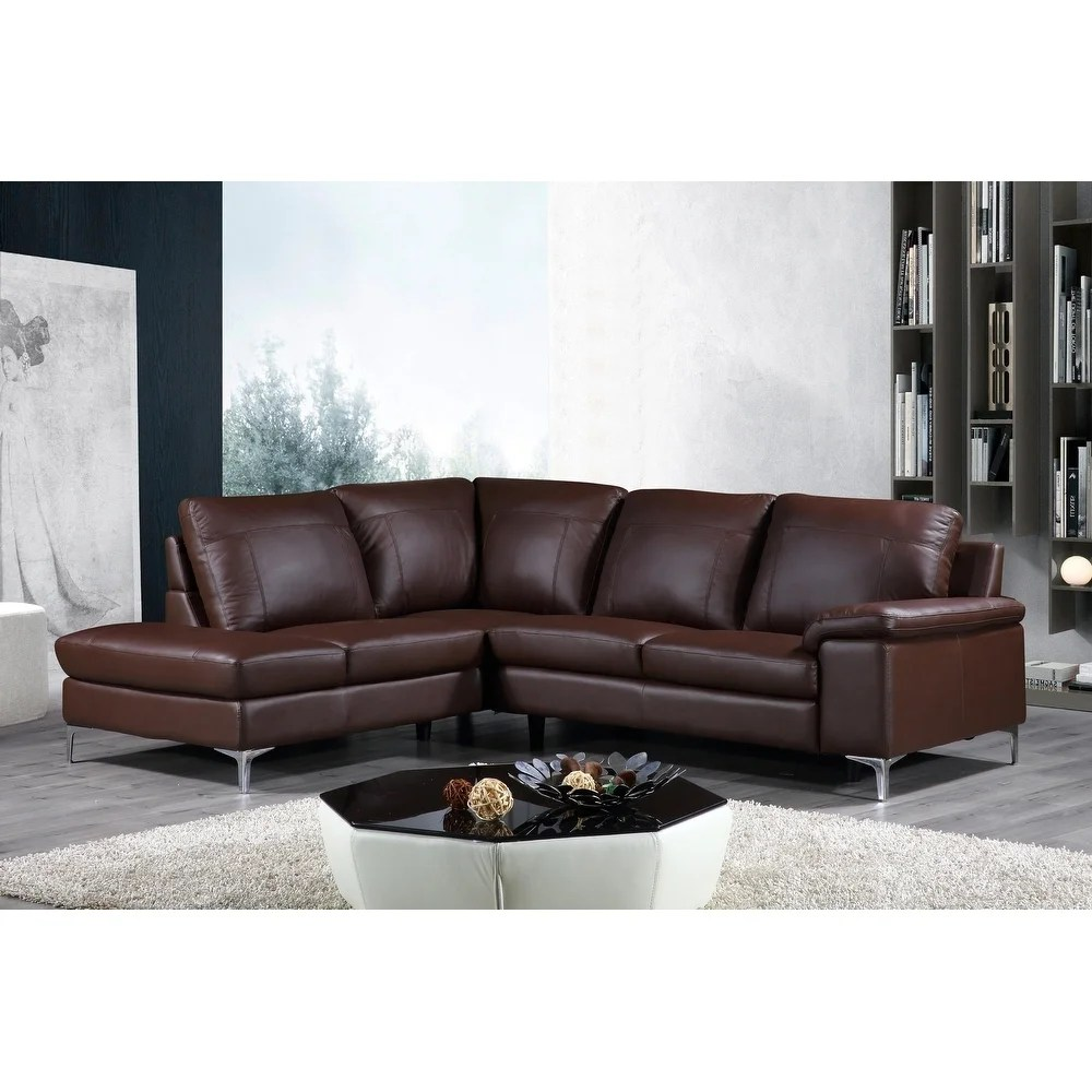 cortesi home contemporary dallas genuine leather sectional sofa with left side facing chaise lounge brown 80 x98