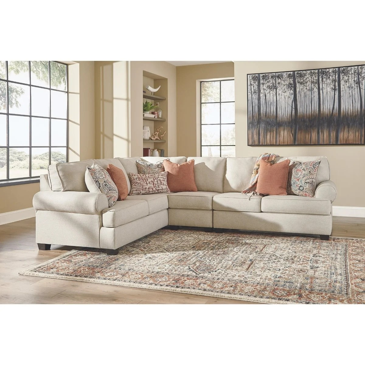 amici 3 piece contemporary linen sectional
